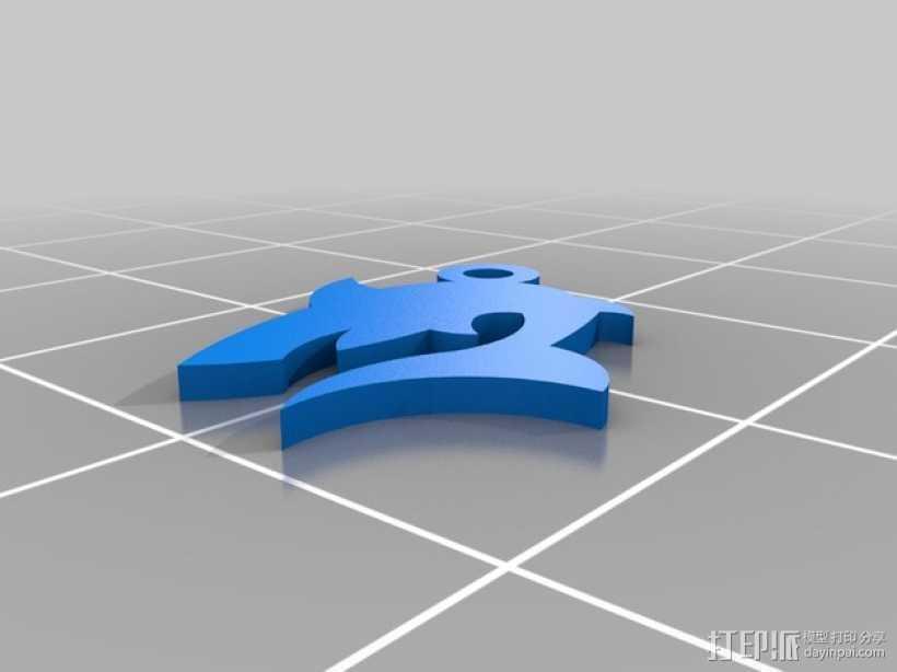 鲨鱼坠饰 3D打印模型渲染图