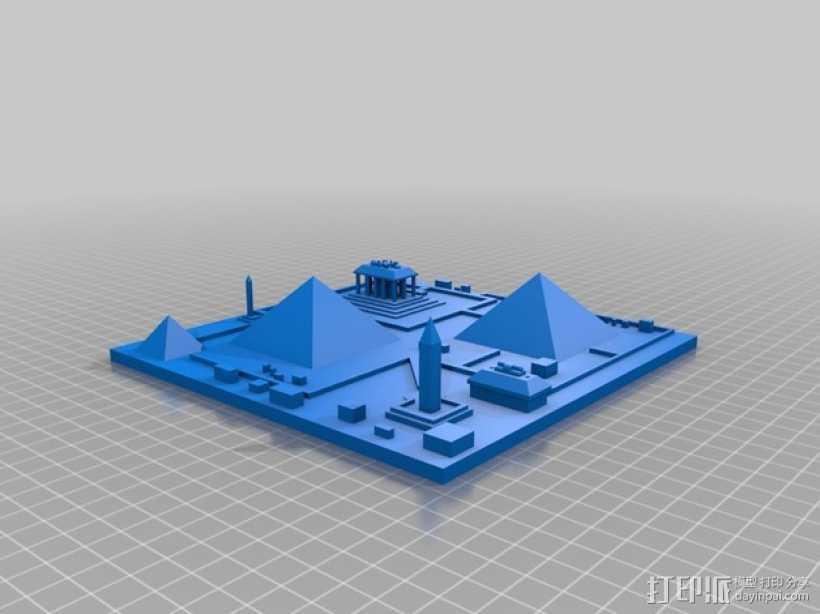 古埃及吉萨金字塔模型 3D打印模型渲染图
