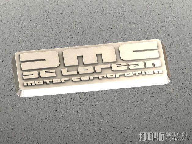 DMC De Lorean徽章 3D打印模型渲染图