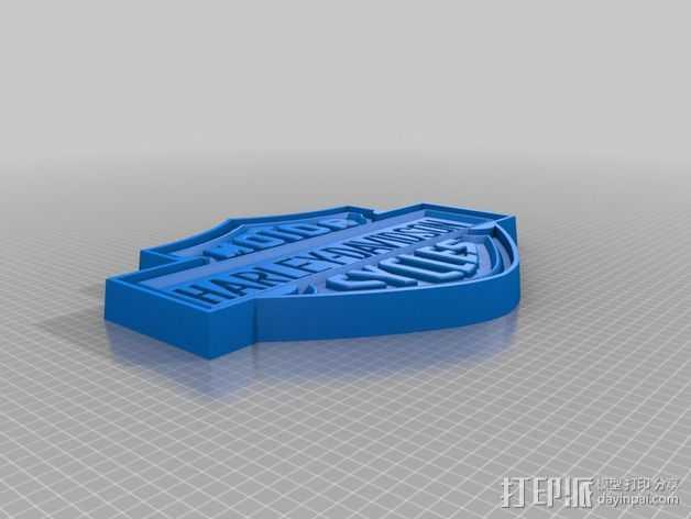 哈雷戴维森商标标志 3D打印模型渲染图
