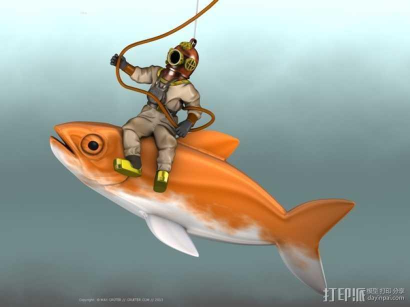 潜水员和鱼 模型 3D打印模型渲染图