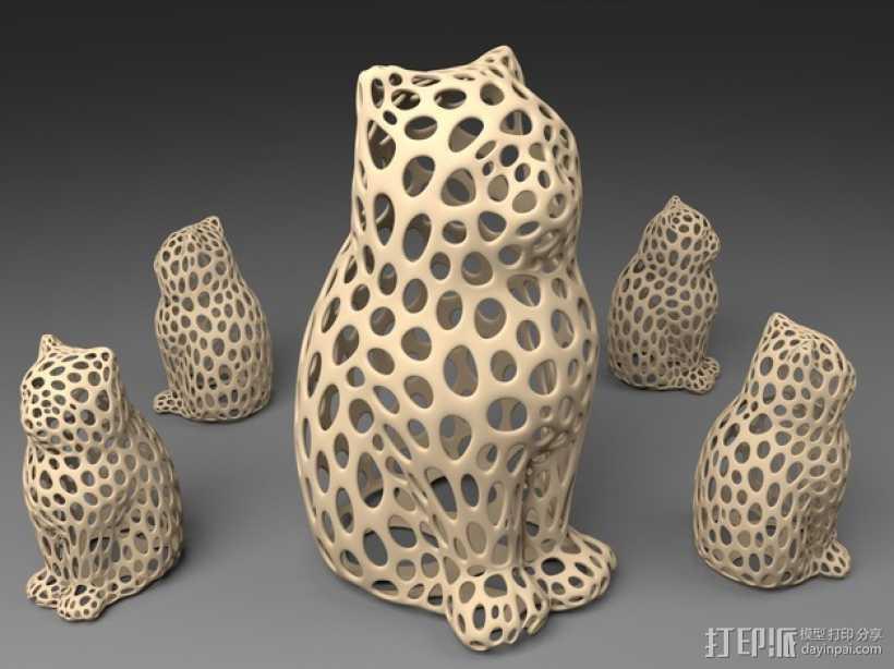 镂空猫模型 3D打印模型渲染图