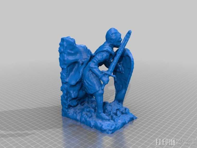 骑士雕塑 3D打印模型渲染图