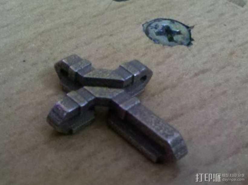 扁平交错十字架 3D打印模型渲染图