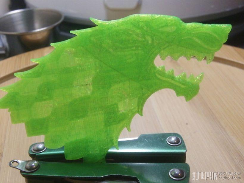 冰原狼标志 3D打印模型渲染图