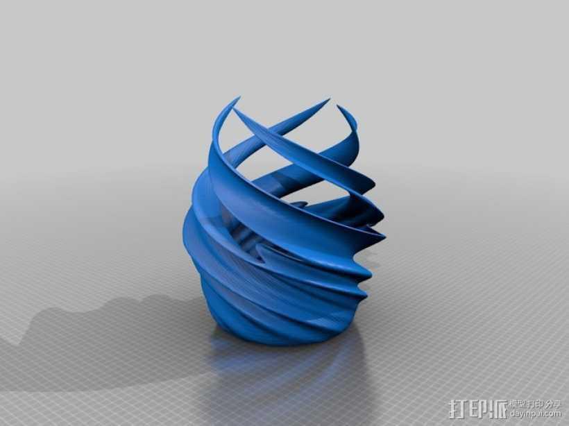 涡型花瓶 3D打印模型渲染图