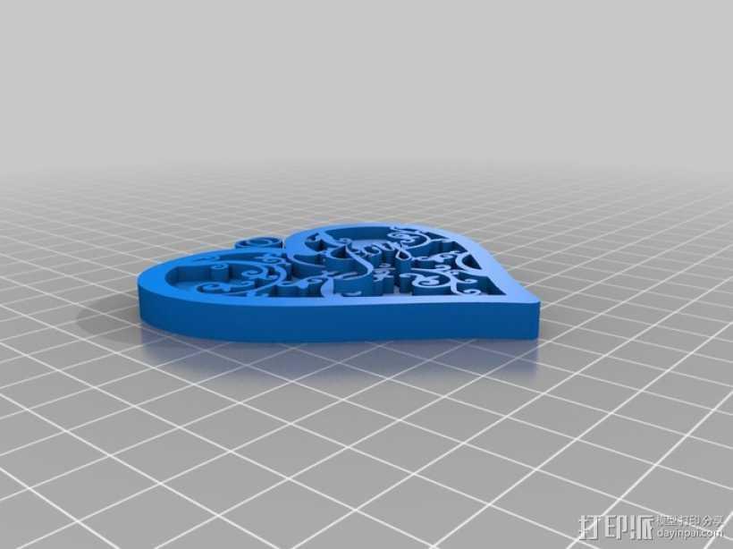 心形坠 3D打印模型渲染图