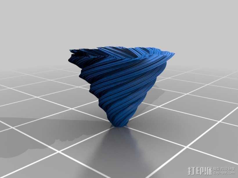 螺旋形科赫雪花花瓶 3D打印模型渲染图