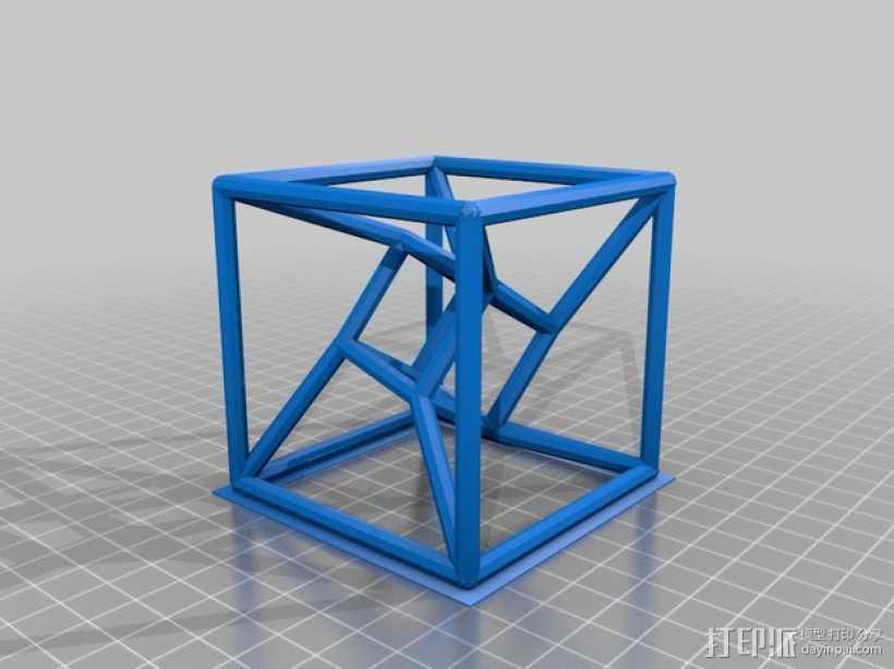 参数化线框式超正方体 3D打印模型渲染图