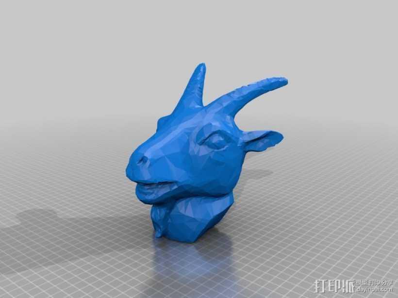 十二生肖羊头模型 3D打印模型渲染图