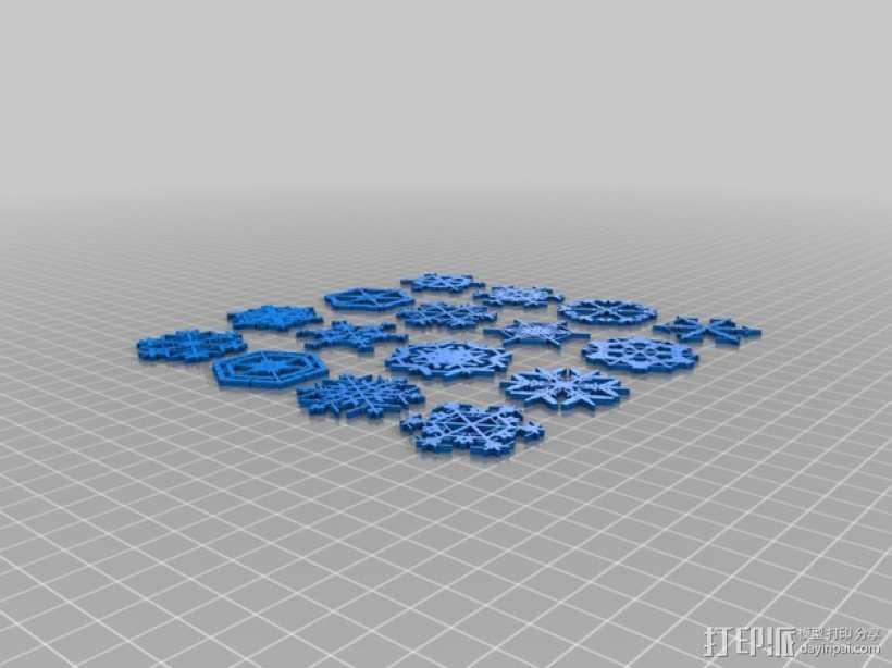 参数化雪花片模具 3D打印模型渲染图