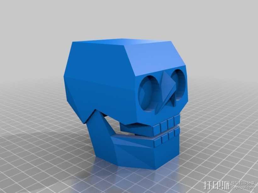 萌版几何头骨 3D打印模型渲染图