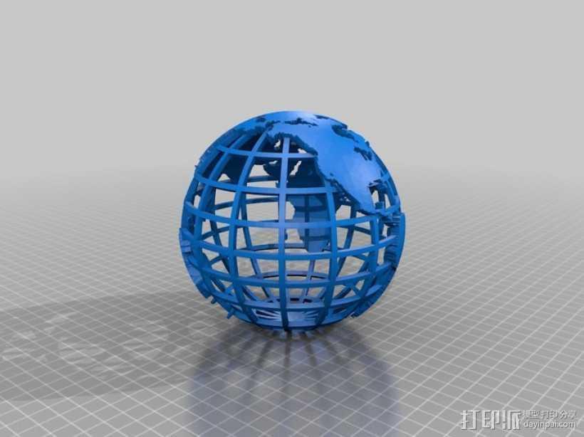网格地球模型 3D打印模型渲染图
