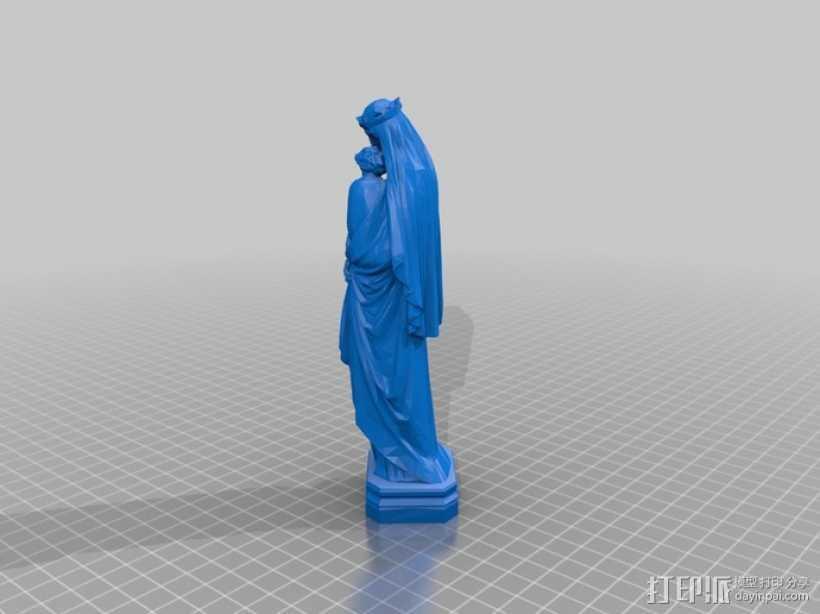 圣母玛利亚雕塑 3D打印模型渲染图