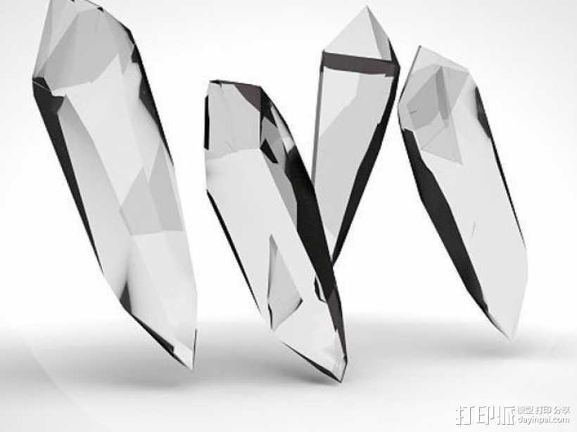 水晶模型 3D打印模型渲染图