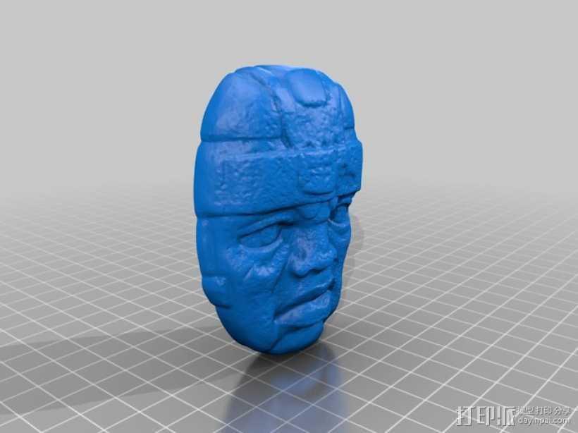 奥尔梅克巨石头像 3D打印模型渲染图