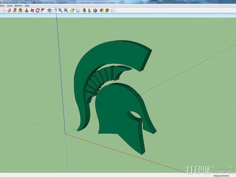 斯巴达人头像 标志  3D打印模型渲染图