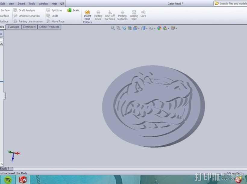 弗罗里达短吻鳄标志 3D打印模型渲染图