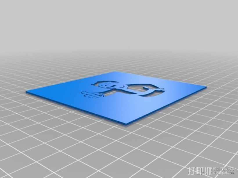 Vault Boy避难所小子 漏字板 3D打印模型渲染图
