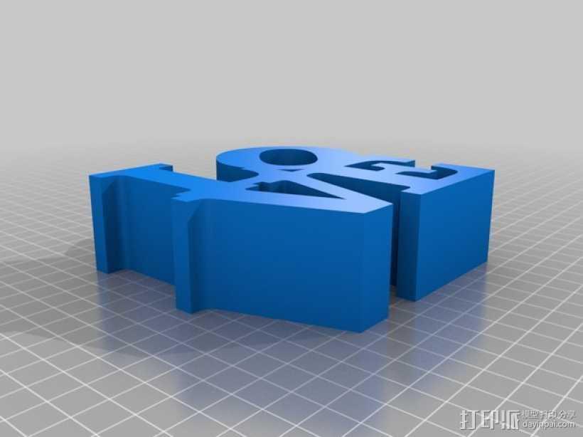 love字母块 3D打印模型渲染图