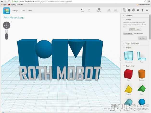 Roth Mobot标志 3D打印模型渲染图