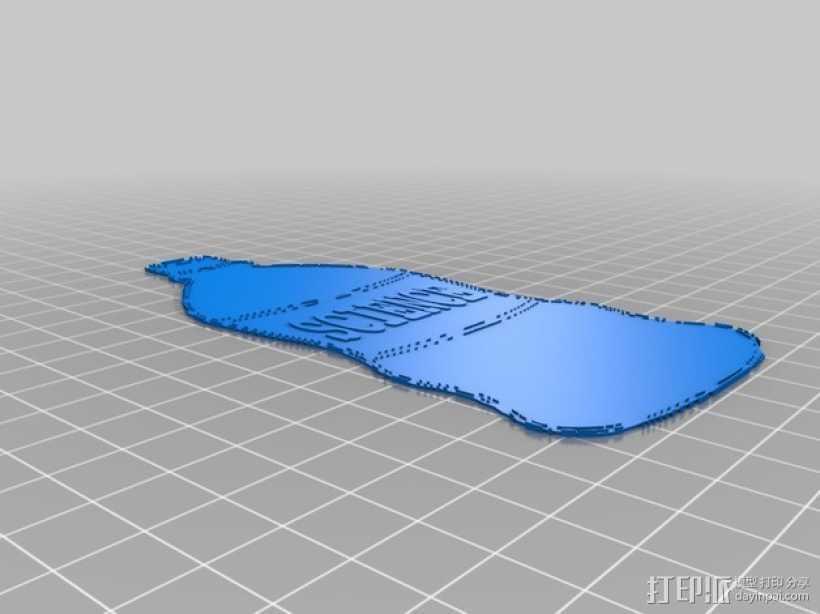 苏打水瓶冰箱贴 3D打印模型渲染图