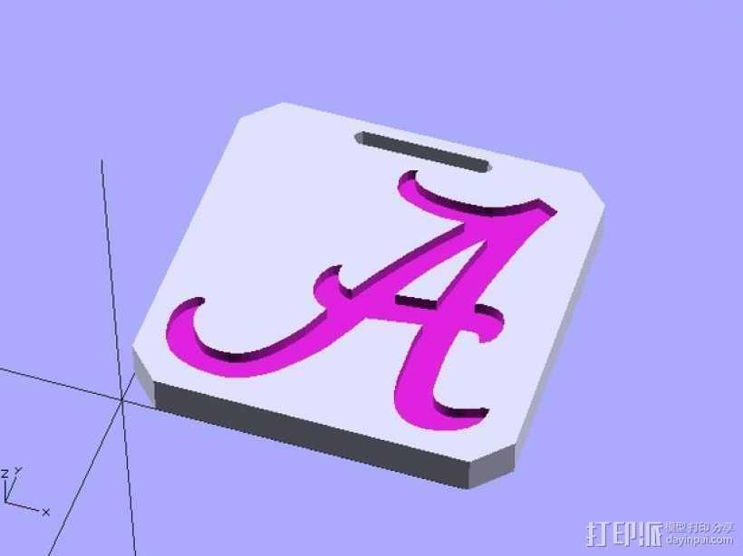 亚拉巴马标签牌 3D打印模型渲染图