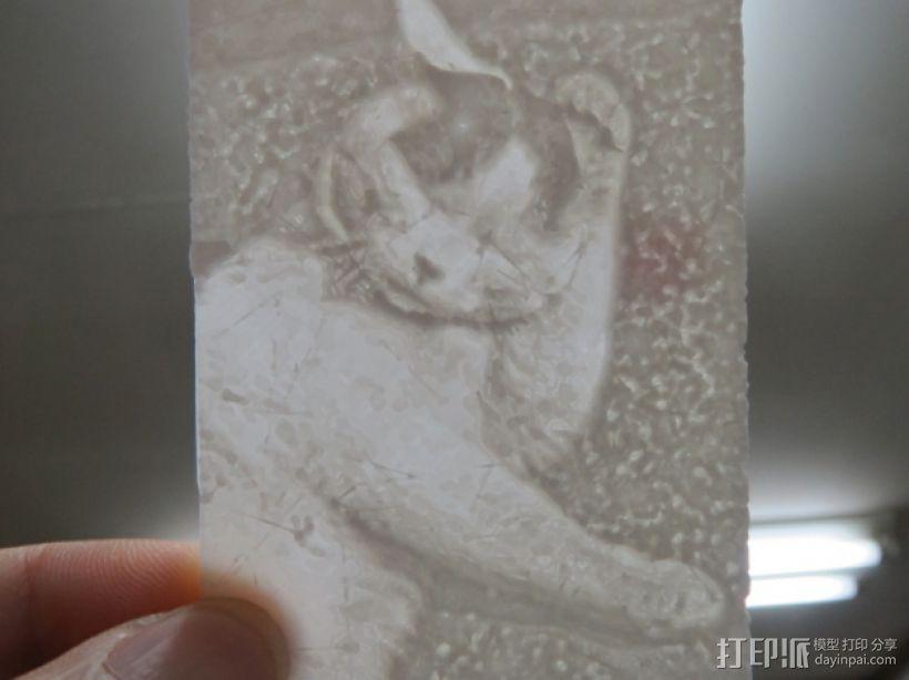 猫咪透光浮雕  3D打印模型渲染图