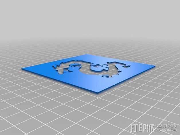 龙图腾漏字板 3D打印模型渲染图