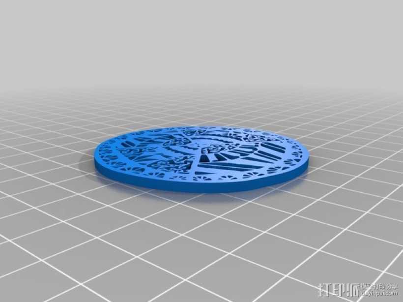 窗花吊坠 3D打印模型渲染图