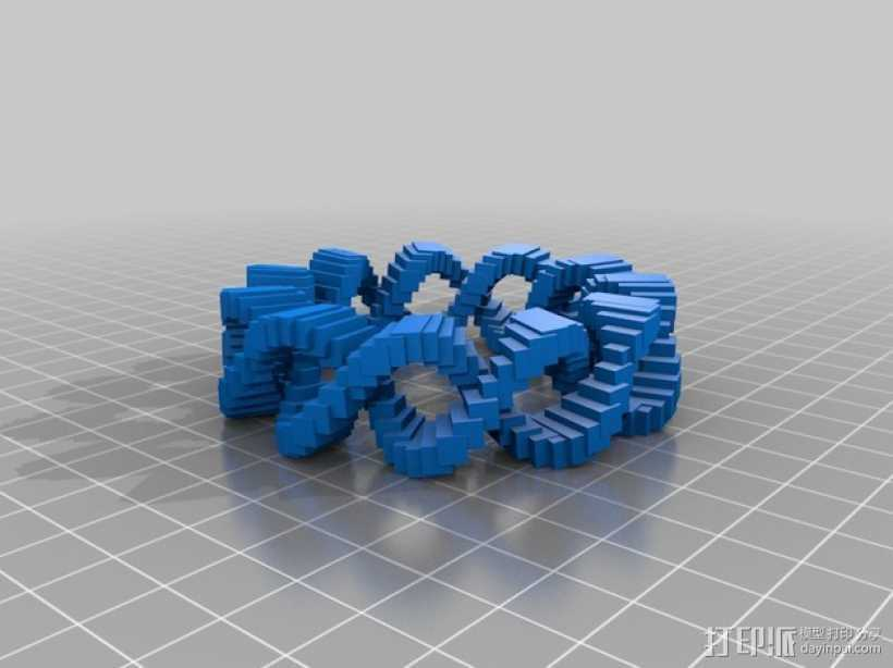 双曲线几何圆环 3D打印模型渲染图
