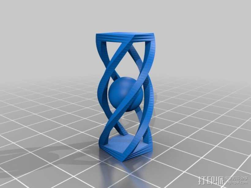 螺旋长方体 小球 3D打印模型渲染图
