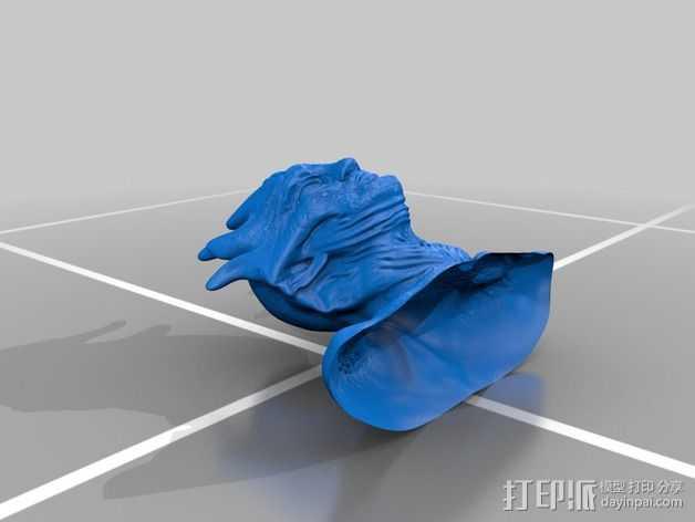 外星人半身像模型 3D打印模型渲染图