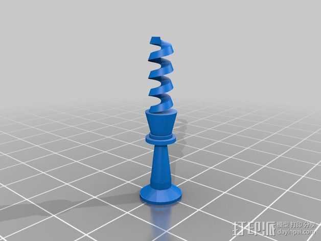 螺旋象棋块 3D打印模型渲染图