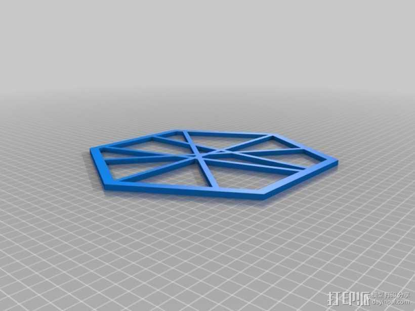 六边形线框式墙饰 3D打印模型渲染图