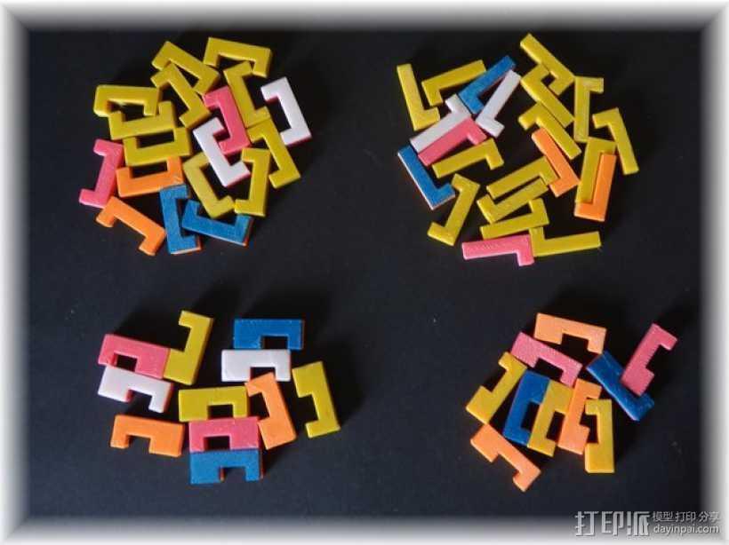 彩色积木 线夹 3D打印模型渲染图