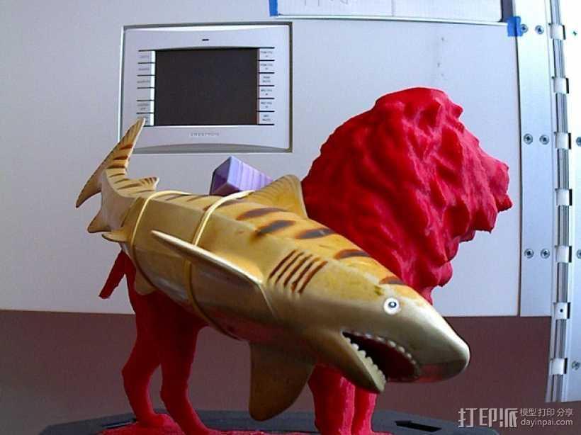 狮子与鲨鱼 3D打印模型渲染图