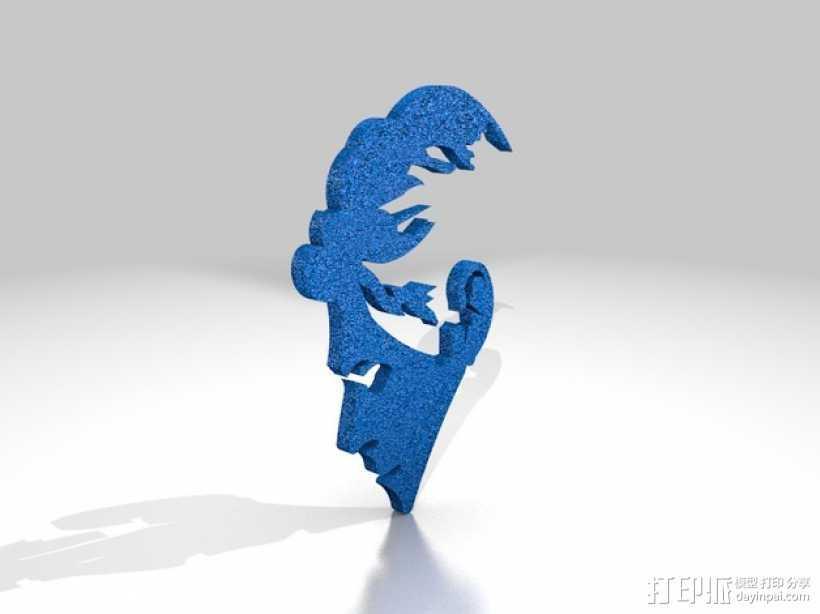 Bowie人头像3D涂鸦模型 3D打印模型渲染图