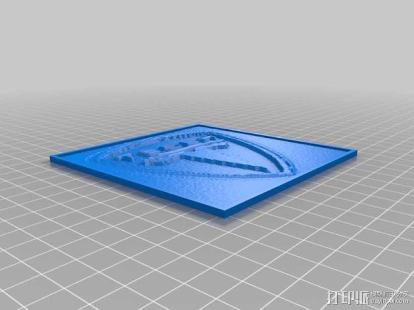 特斯拉汽车标志透光浮雕 3D打印模型渲染图