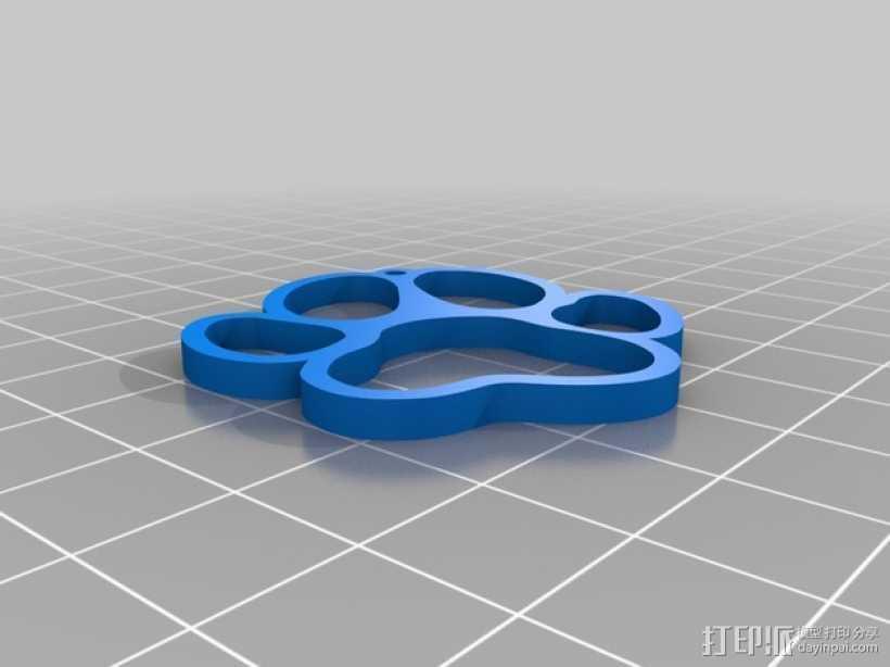 小狗脚印吊坠 3D打印模型渲染图