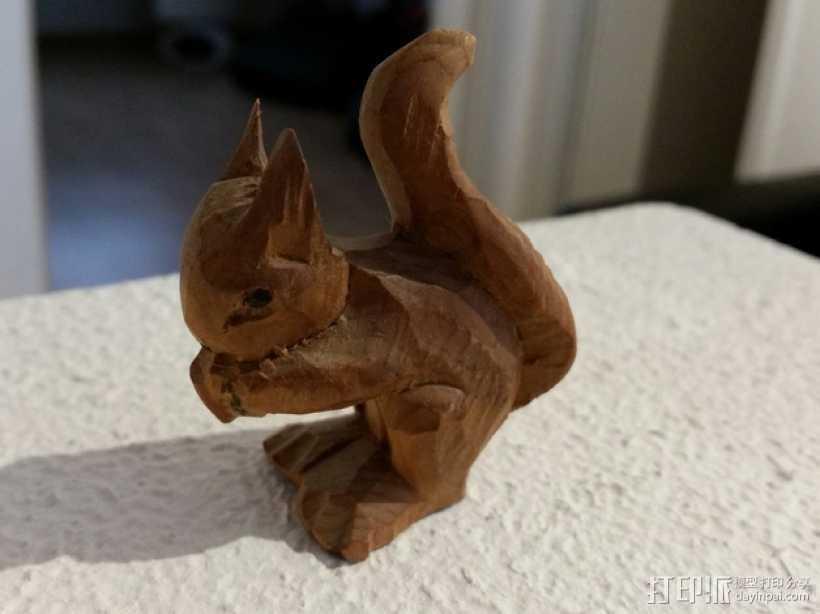 吃松果的小松鼠 3D打印模型渲染图
