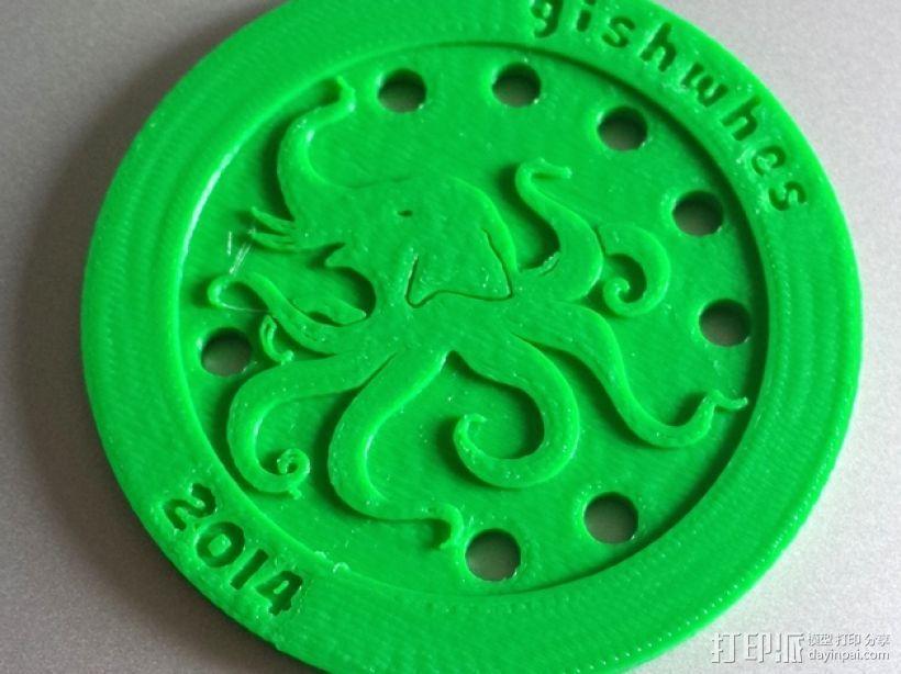 大象章鱼标志徽章 3D打印模型渲染图