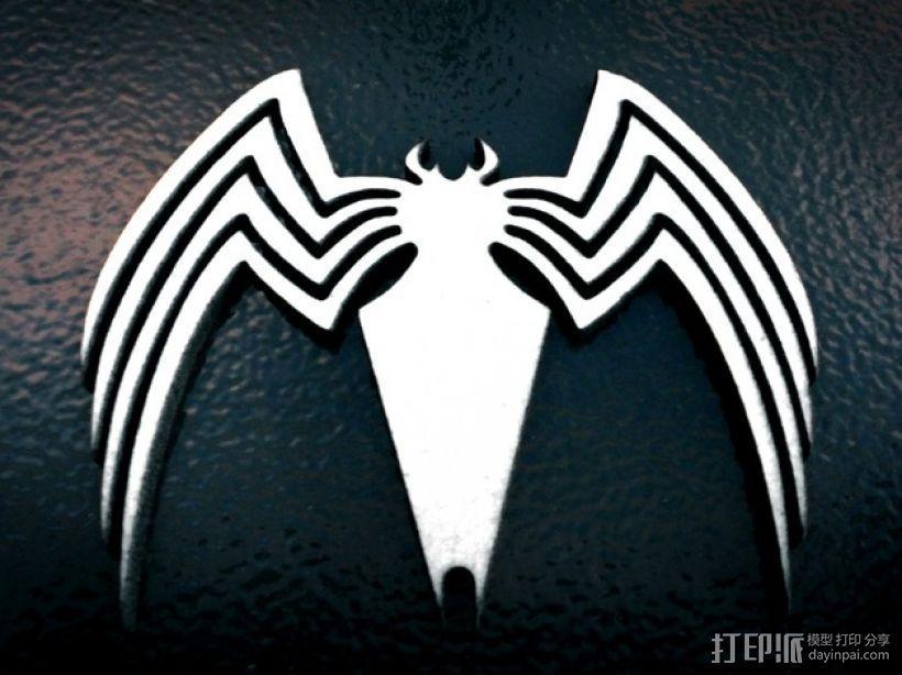毒蜘蛛标志 3D打印模型渲染图