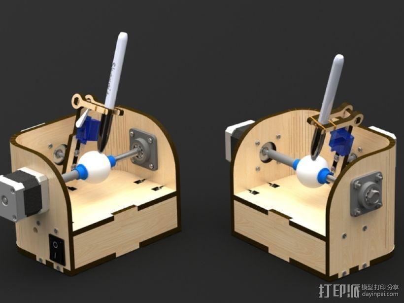 球面刻字器 3D打印模型渲染图
