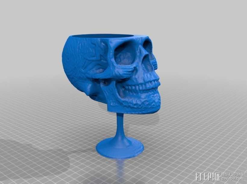 骷髅红酒杯 3D打印模型渲染图