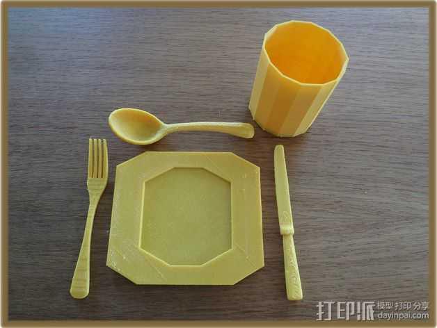餐具 餐盘 杯子 3D打印模型渲染图