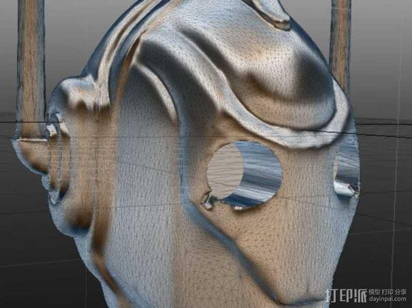 赛博人头部模型 3D打印模型渲染图