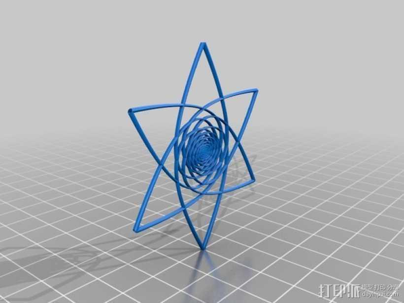 螺旋涡流形花 3D打印模型渲染图