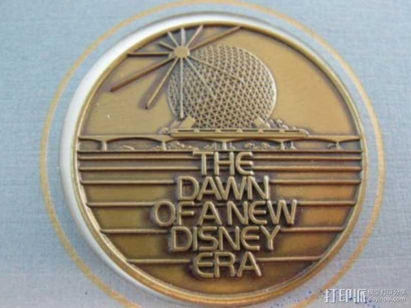 迪士尼未来世界纪念币 3D打印模型渲染图