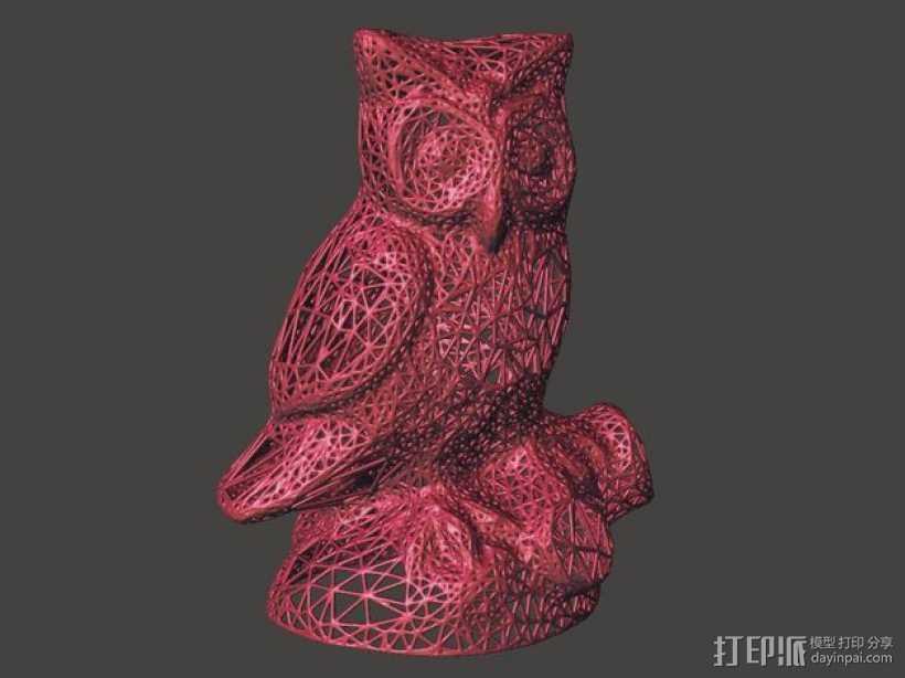 猫头鹰 雕塑 3D打印模型渲染图